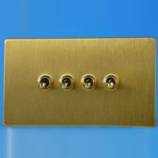 Varilight 4 Gang 10A 1 or 2 Way Dolly Toggle Light Switch Screwless Brushed Brass Finish XDBT9S